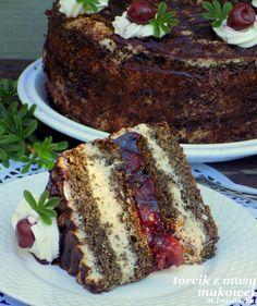 torcik z masy makowej (z kawą i wiśniami) Polish Desserts, Polish Recipes, Polish Food, Sweet Recipes, Cake Recipes, Dessert Recipes, Vegan Junk Food, Different Cakes, Vegan Kitchen