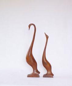 Teak wood Bird. Modern Swans