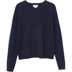 Monki Isa knitted top (22 CAD) ❤ liked on Polyvore featuring tops, sweaters, jumpers, monki, midnight hour, blue knit top, blue knit sweater, blue jumper and blue top