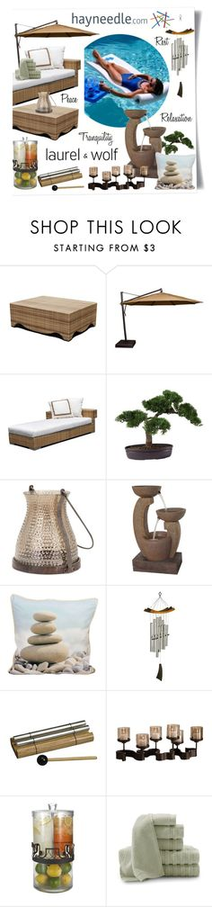 """""""Dream Outdoor Space with @Hayneedle and @LaurelAndWolf"""" by designsbytraci ❤ liked on Polyvore featuring interior, interiors, interior design, home, home decor, interior decorating, DANN Foley, Sunbrella, Fountain and Baltic Linen Company"""