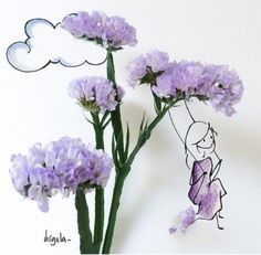 Image discovered by Star girl. Find images and videos about flowers and comma on We Heart It - the app to get lost in what you love. Arte Floral, Flower Petals, Flower Art, Illustration Art, Illustrations, Sketch Painting, Lavender Flowers, Purple Flowers, Cute Art