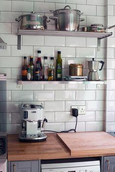 Ikea kitchen tiles my finished kitchen with metro tiles ikea kitchen tiles canada Kitchen Handles, Ikea Kitchen, Kitchen Shelves, Kitchen Decor, Kitchen Design, Kitchen Modern, Metro Tiles Kitchen, Glass Backsplash Kitchen, Bodbyn