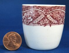 Red Transferware Eggcup Barratt's Old Castle Vintage 1940s Ironstone