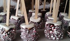 giant marshmallows dipped in dark chocolate, then rolled in crushed candy cane...yep...that went in my hot cocoa :)
