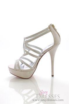 b1c9ff1ef15 Silver Shimmer  Poly  Rhinestone Embellished Strappy High Heel Sandals