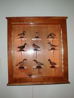 Elmer A. Crowell miniature carvings on view outside of the Durand room at Atwood House Museum & Chatham Historical Society. This set of Miniatures donated in memory of Chester and Priscilla Hardy. #atwoodhouse, #durand, #elmercrowell, #decoys, #carvings, #birds, #chatham, #capecod