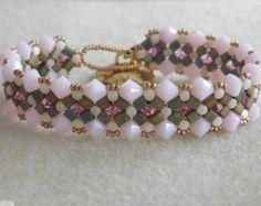 Beading Bracelet Tutorial, Beaded Bracelet Pattern, Peek a boo Bracelet, Beadweaving, Swarovski Bicone, Minos Beads, Cube Seed Beads, PDF
