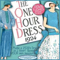 The ONE HOUR DRESS ~A Versatile Vintage Sewing Booklet from 1924~ (DOWNTON ABBEY FANS - These are like the dresses that the Crawley Girls wore!)  (This is a PDF copy of my vintage original pattern - You will receive a download link to access this PDF e-pattern IMMEDIATELY from Etsy!)  All in 10 EASY STEPS: You MEASURE YOURSELF and from those measurements you cut out your fabric in large rectangles and squares. You then follow the directions to sew the pieces of fabric together to make a…