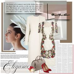Audrey Hepburn by daha-mk on Polyvore featuring moda, Dolce&Gabbana, STELLA McCARTNEY, Charlotte Olympia, Lalique, Victoria Beckham and Tag