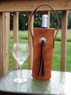 Handmade Leather Wine Bottle Carrier