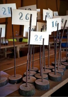 8 Wooden Table Number Holders w/vintage card numbers - Wedding - Rustic / Shabby Chic / Vintage / Custom Typography / Wood Numbers Tables