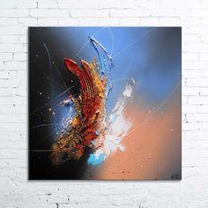 Frontière - Tableau abstrait moderne contemporain peinture acrylique en relief : Peintures par tableaux-abstraits-nathalie-robert