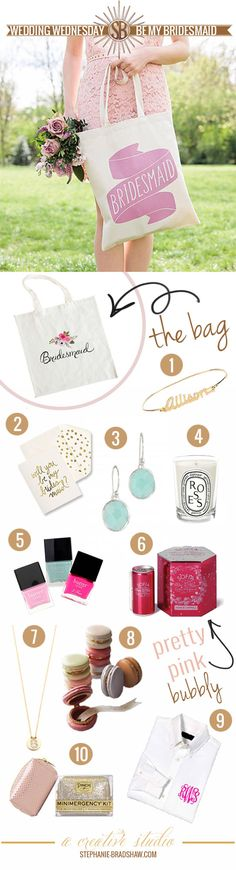 Bridesmaid gift bag ideas! I would totally do a reusable grocery tote.  Fun and practical!