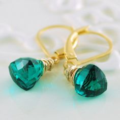 Bright Teal Gemstone Earrings Genuine Quartz by livjewellery on etsy