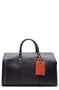 9ab59d2698122 Ted Baker London  Colbad  Leather Duffel Bag available at  Nordstrom Orange  Bag