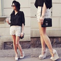 Lace shorts (by Pam S) http://lookbook.nu/look/3234577-lace-shorts
