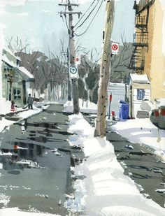 I have to admit it was a relief when it snowed last night. The fresh white stuff covered an awful layer of thick ice that coated our city and made (dog) walking treacherous since last week. I could… #watercolorarts