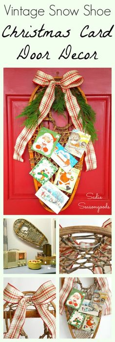 "Repurpose an antique snow show into a festive ""wreath"" or door decor this holiday season! Add a bow, some greenery, and clip on some Christmas cards to the leather laces. I used vintage Christmas cards, of course, but modern cards would work just fine. The snow shoe has a rustic mountain cabin look that is SO hot right now- the perfect way to decorate your door this Christmas! Simple, fun Christmas upcycle DIY craft project from #SadieSeasongoods / www.sadieseasongoods.com"