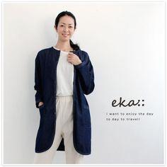 【eka eka:: エーカ】ノーカラー デニム ロング ジャケット (1730298)