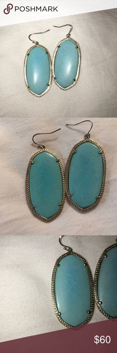 Kendra Scott turquoise Danielle earrings Turquoise and gold Danielle earrings. Drop statement earrings Kendra Scott Jewelry Earrings