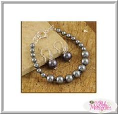 charcoal glass pearls bracelet and earrings set