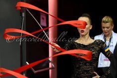Ganna Rizatdinova (Ukraine) and her coach Irina Blokhina, backstage World Championships 2015