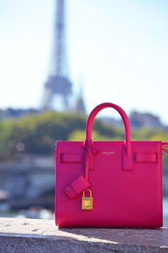Saint Laurent Sac de Jour Micro bag in neon pink!