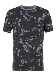 TOPMAN* Black And White Camo Wash T Shirt
