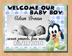 "Baby Goofy Birth Announcements! USE THE PROMO CODE TO GET 10% off on Esty! ""10YOURCHOICE"""