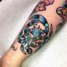 "3,122 Likes, 41 Comments - MissQuartz (@missquartz) on Instagram: ""Repost of one of my fave tattoos this year, super cute party crab for my girl @babydollbetty_ …"""