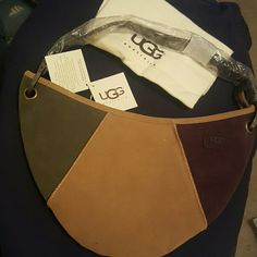 NWT suede Ugg shoulder purse Olive green,  tan,  and purple suede Ugg shoulder purse.  Dust bag included.  Tags still attached UGG Bags Shoulder Bags