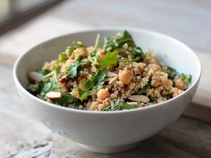 Quinoa with Chickpeas, Parsley, Almonds and Tahini Lemon Vinaigrette.