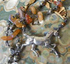 Prancer   Vintage Assemblage Necklace by HappyMoonDesigns on Etsy, $110.00