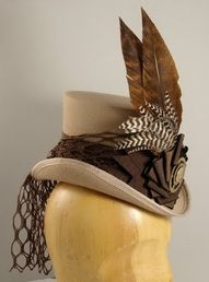 """""""doll"""" top hat - simply means a miniature top hat made to perch on head #millinery #judithm #hats"""
