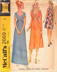 91c8eaffe Items similar to 1970; Size 12 Bust 34; Misses Cocktail Dress; McCall's  2669, Misses' 1970's Vintage Sewing Pattern; Misses Empire Waist Evening  Maxi Gown ...