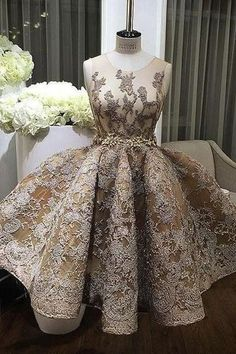 Champagne lace round-neck short formal dresses,prom dress for teens,YY59