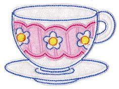 Embroidery | Free Machine Embroidery Designs | Bunnycup Embroidery | Time For Tea Applique