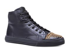 Gucci California studded black leather high-top sneaker - Italian Boutique €347