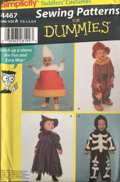 Simplicity 4467 Size 1/2-1-2-3-4 Toddlers' Costumes