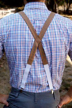 Keep me in suspense, why doncha.   Faux Burlap Men's Suspenders. $40.00, via Etsy.