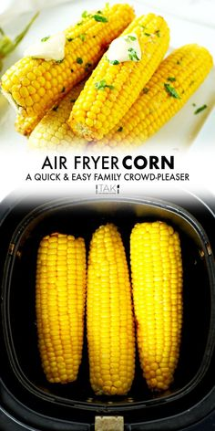 Air Fryer Corn On the Cob has so much more flavor than boiled or microwaved corn and it cooks in a fraction of the time! It's an easy side dish perfect for family dinners thanks to minimal prep and minimal ingredients! Slather it with butter and sprinkle with salt for a tried-and-true side dish crowd-pleaser. Barbecue Side Dishes, Side Dishes Easy, Cake Factory, Roasted Corn, Potluck Recipes, Air Fryer Recipes, Cob, Dinners, Salt