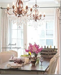 French Country Cottage added blingy found vintage chandeliers