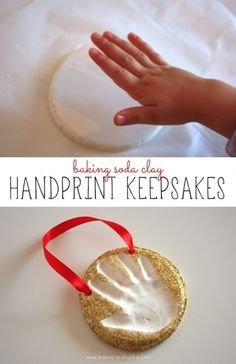 Baking Soda Clay Handprint Keepsakes {perfect as Christmas gifts or ornaments!} Maybe this will be coops ornamnet this year Baby Crafts, Toddler Crafts, Holiday Crafts, Holiday Fun, Fun Crafts, Crafts For Kids, Festive, Preschool Christmas, Noel Christmas