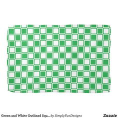 Green and White Outlined Squares Towels