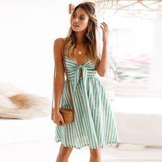 Günstige 2018 frauen Sommer Bogen Kleid Streifen Backless Kleider Sexy Weg  Schulter Ärmelloses Kleid Abend Spaghetti 3f98716504
