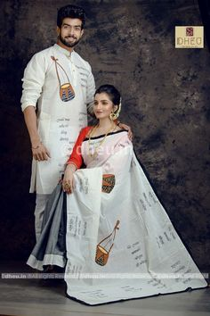 Ektara couple set This Product Contains saree + Blouse pc+ 1 Pc Gents' KurtaSaree Material- Handloom Pure Cotton Handpainted Calligraphy and Applique FusioinKurta Material-Handloom Pure Soft CottonColour- off white - Grey Half Half. Indian Bridal Fashion, Indian Fashion Dresses, Indian Designer Outfits, Kurta Designs, Blouse Designs, Set Saree, Ethnic Outfits, Ethnic Dress, Gents Kurta