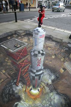 "Julian Beever 3D chalk street art. Sidewalk illusion art. | Do You WannaA Draw it - You Do Want AnaDraw! | Download Illusion Drawing App ""AnaDraw"" https://itunes.apple.com/app/id885877961"