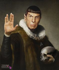 Live long and prosper - Leonard Nimoy - Spock Old Masters Paintings with a Science fiction Twist. To see more art and information about Richard Kingston click the image. Star Trek Spock, Star Trek Tos, Star Wars, Cultura Pop, Kingston, Rembrandt, Digital Art Illustration, Science Fiction, Star Trek Original