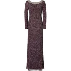 Jenny Packham Embellished Evening Gown featuring polyvore, fashion, clothing, dresses, gowns, brown, plum purple dress, long sleeve ball gowns, purple evening dresses, long sleeve gown and purple dress
