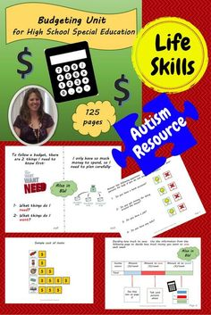 Budgeting 125 page unit is meant to help students, especially those with autism, in a life skills high school setting understand what it means to make and follow a budget. There are 2 versions included which targets those students who are early readers and those who are non-readers.  Included are books, vocabulary cards, worksheets, templates, and more to help your student better understand this very important yet complex life skill even if he or she lives with significant challenges .